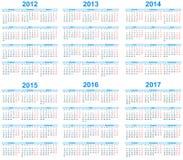 Kalender 2012 -2017 Stock Afbeeldingen