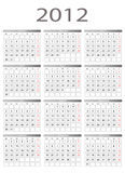 kalender 2012 Royaltyfria Bilder