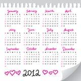 kalender 2012 Royaltyfri Fotografi