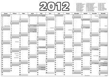 Kalender 2012 mit deutschen amtlichen Feiertagen Stockfotografie
