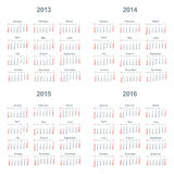 Kalender 2013, 2014, 2015, 2016 Stock Afbeelding