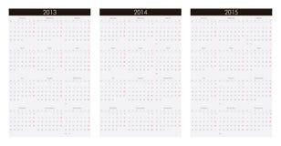 Kalender 2013, 2014, 2015 Stockfoto