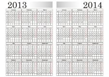 KALENDER 2013-2014 Stock Illustrationer