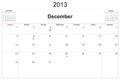 Kalender 2013 Stock Afbeelding