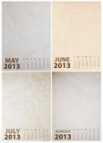 Kalender 2013 auf Papierbeschaffenheit stock abbildung
