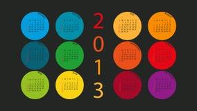 Kalender 2013 in de Cirkels van de Kleur Stock Foto's
