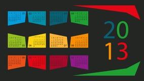 Kalender 2013 i färgaskar Arkivfoton