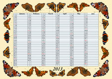 Kalender 2013 Januari - Juni med fjärilar Arkivfoton