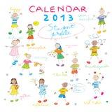 Kalender 2013 jonge geitjesdekking Royalty-vrije Stock Foto