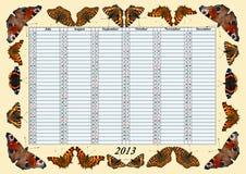 Kalender 2013 Juli - December med fjärilar Royaltyfria Foton