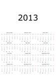 Kalender 2013 mit Mondphasen lizenzfreie abbildung