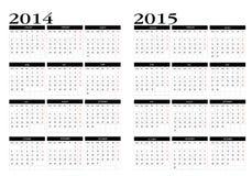 Kalender 2014-2015 stock illustrationer