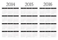 Kalender 2014-2015-2016 stock illustrationer