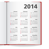 Kalender 2014 vektor illustrationer