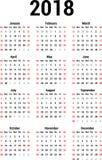 Kalender 2018 Stock Afbeelding