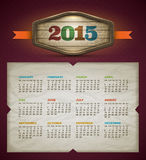 Kalender 2015 Royaltyfri Fotografi
