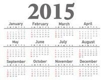 Kalender 2015 Royaltyfri Foto