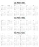 Kalender 2015, 2016, 2017 Stock Afbeeldingen