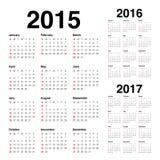 Kalender 2015 2016 2017 royaltyfri illustrationer