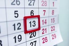 Kalender 13 Royalty-vrije Stock Foto's