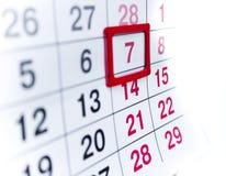 Kalender 7 Fotografering för Bildbyråer