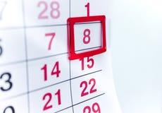 Kalender 8 arkivfoton