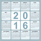 Kalender 2016 Royalty-vrije Stock Afbeelding