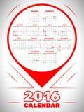 Kalender 2016 Lizenzfreies Stockbild