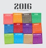 Kalender 2016 stock illustrationer