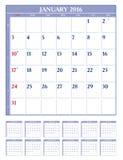 Kalender 2016 vektor illustrationer