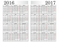 KALENDER 2016-2017 Stock Illustrationer
