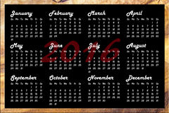 Kalender 2016 Royalty-vrije Stock Fotografie