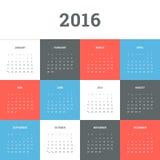 Kalender 2016 Royalty-vrije Stock Afbeeldingen