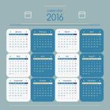 Kalender 2016 royaltyfri illustrationer