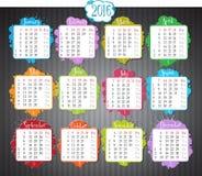 Kalender 2016 royalty-vrije illustratie