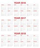 Kalender 2016 2017 2018 Stock Afbeeldingen
