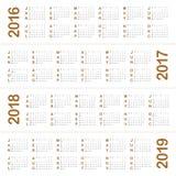 Kalender 2016 2017 2018 2019 Royaltyfria Bilder