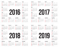 Kalender 2016 2017 2018 2019 stock illustrationer