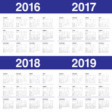Kalender 2016 2017 2018 2019 royaltyfri illustrationer