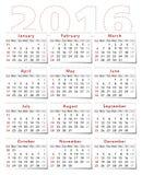 Kalender 2016 Stock Afbeelding
