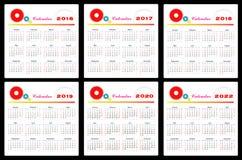 Kalender 2016-2022 stock illustrationer