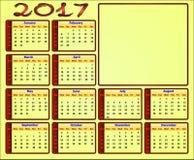 Kalender 2017 Stockbild