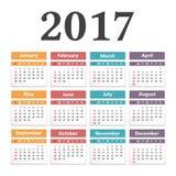 kalender 2017 royaltyfri illustrationer