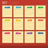 Kalender 2017 Royalty-vrije Stock Foto's