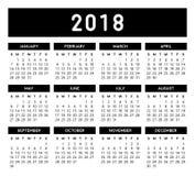Kalender 2018 Lizenzfreies Stockbild