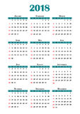 kalender 2018 Royaltyfri Bild