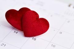 Kalender aan Valentijnskaartendag Stock Fotografie