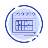 Kalender affär, datum, händelse, planläggning, schema, blå prickig linje linje symbol för schema stock illustrationer