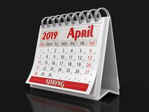 Kalender - April 2019 royaltyfri illustrationer