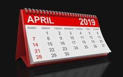 Kalender - April 2019 vektor illustrationer